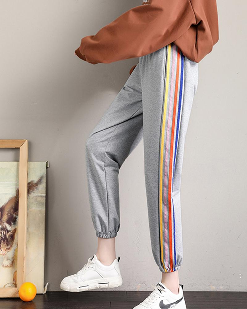 Colorful Side Contrast Jogger Pants