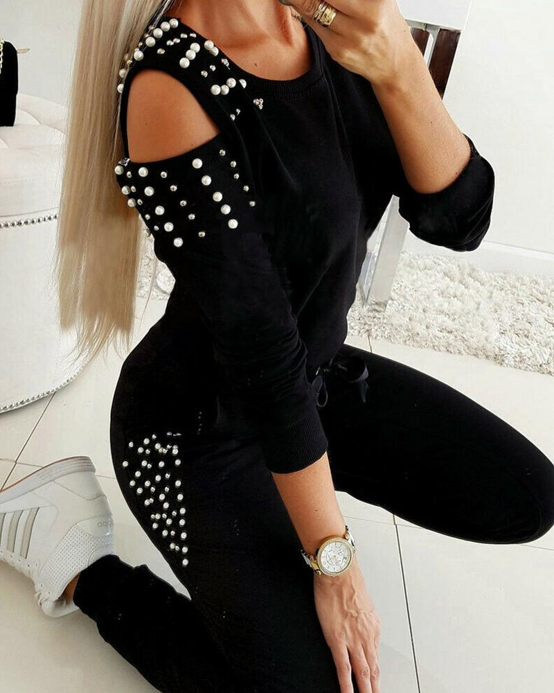Beaded Embellished Cold Shoulder Top & Pants Set