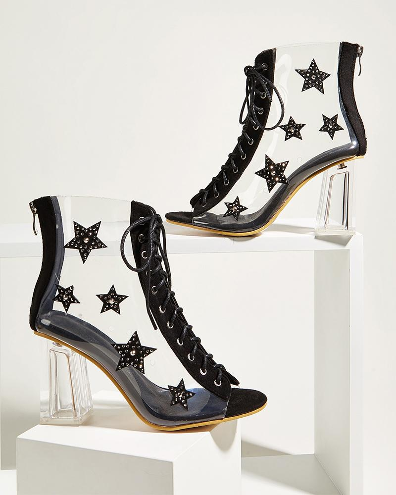 Colorblock Stars Transparent Lace-up Peek-toe Ankle Boots