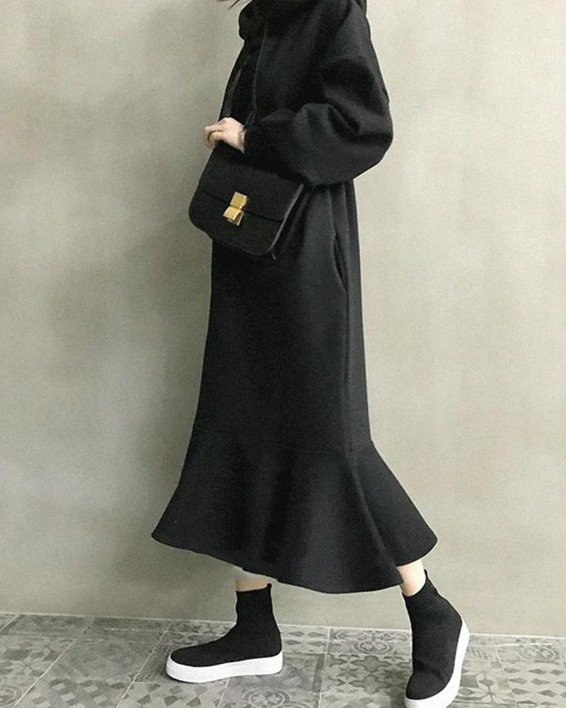 Solid Long Sleeve Hoodies Fish Tail Dress