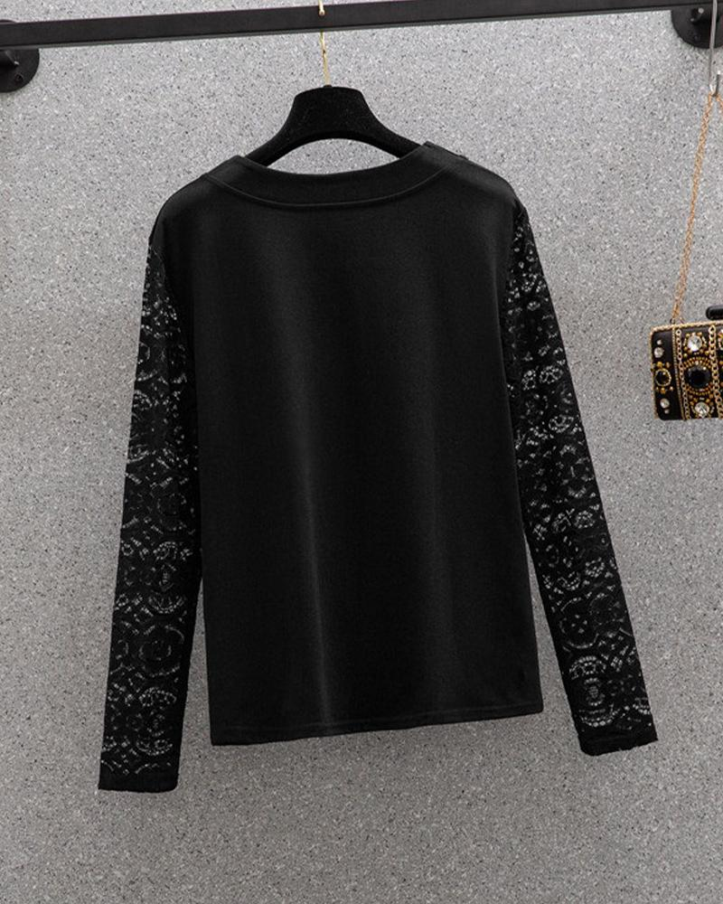Stitching Lace Long Sleeve T-shirt