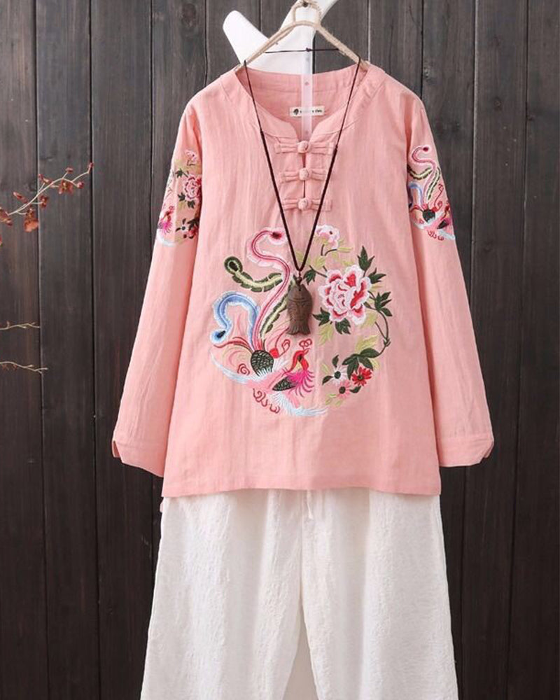 National Style Embroidery Long Sleeve Shirt