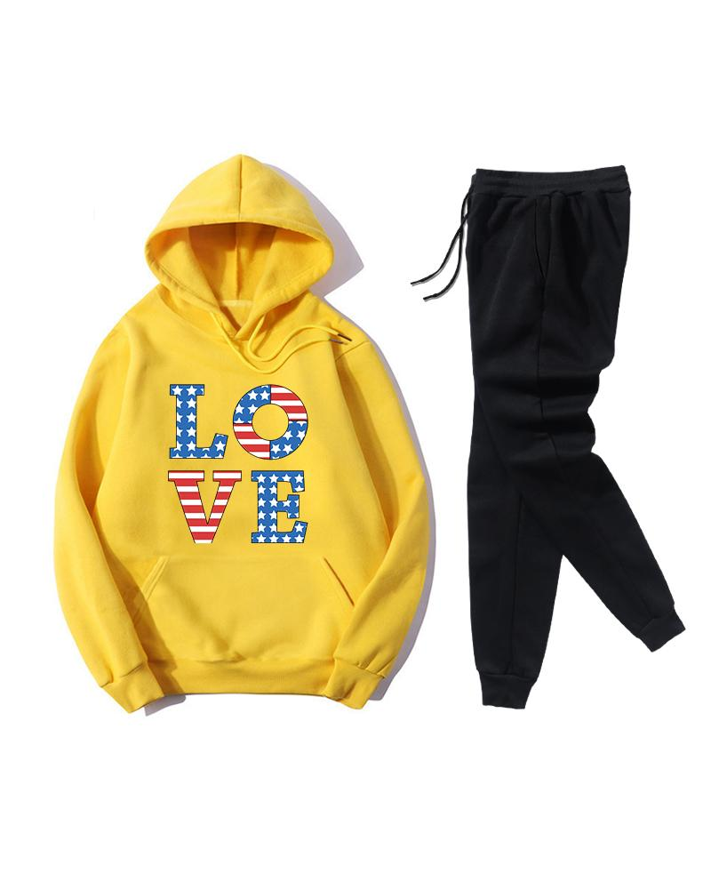 Print Long Sleeve Loose Hoodies Sweatshirts Suit Sets