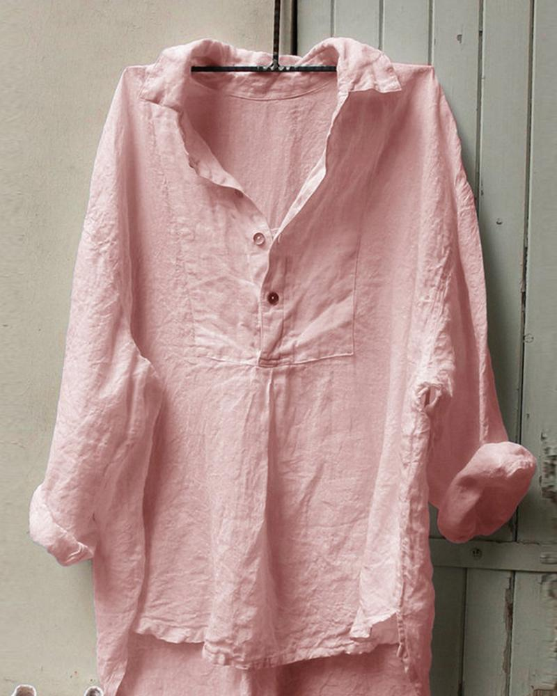 Half Button Linen Blouse