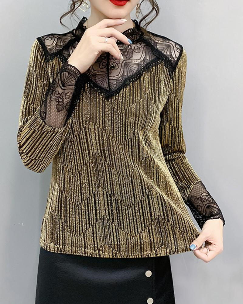 Lace Splicing Long Sleeve Skinny Blosue