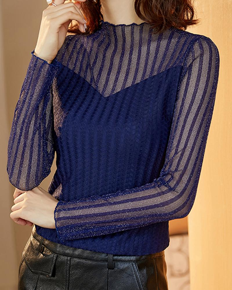 Solid Striped Long Sleeve Skinny See-through T-shirts