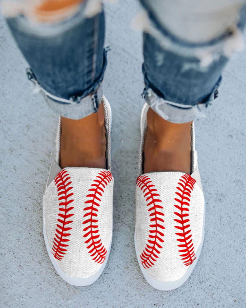 Baseball Shape Upper Round-toe Flat Sandals