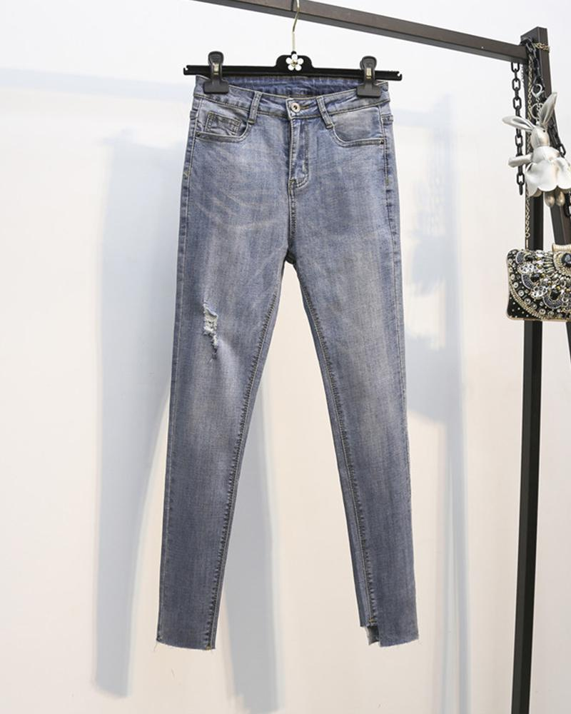 Solid Washing Effect Skinny Denim Pants