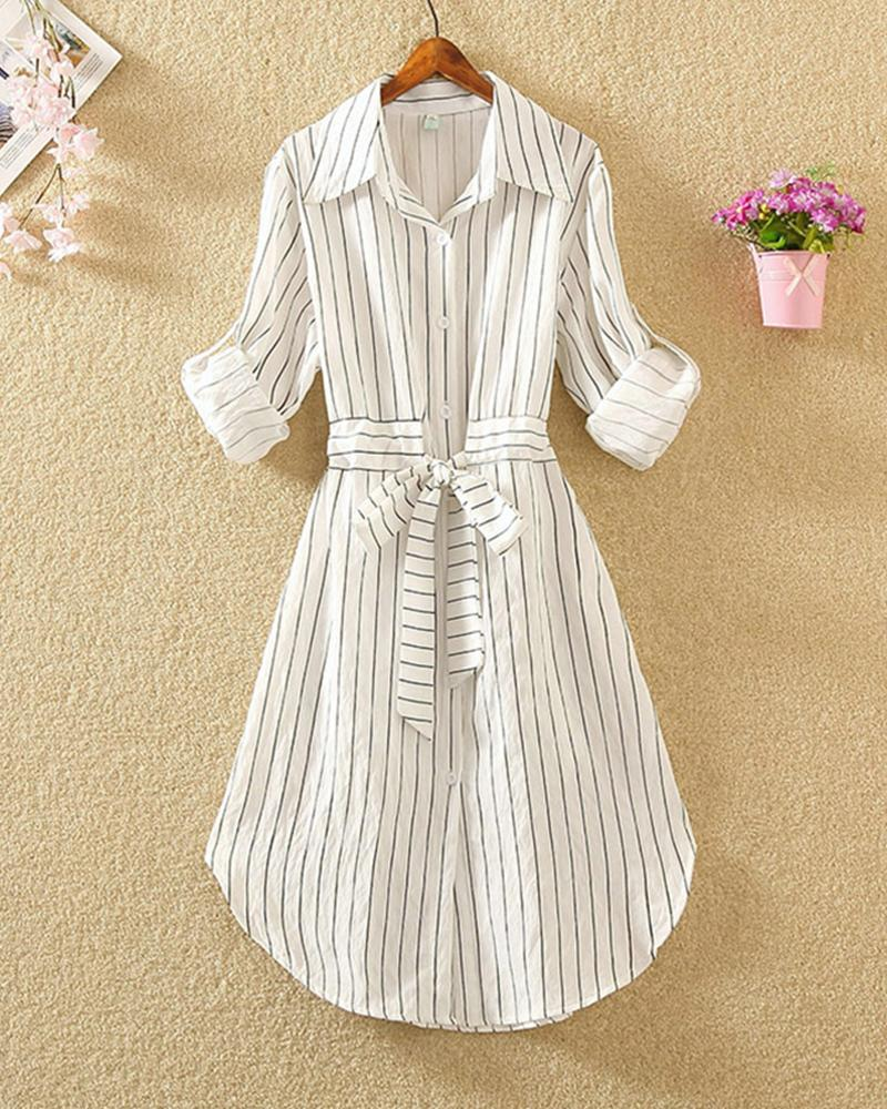 Striped Tie Waist Shirt Dress