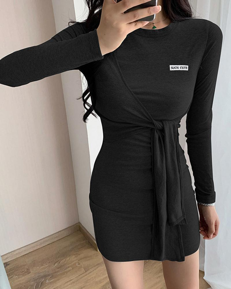 Lace-up Letter Embroidery Cut-out Long Sleeve Mini Dress