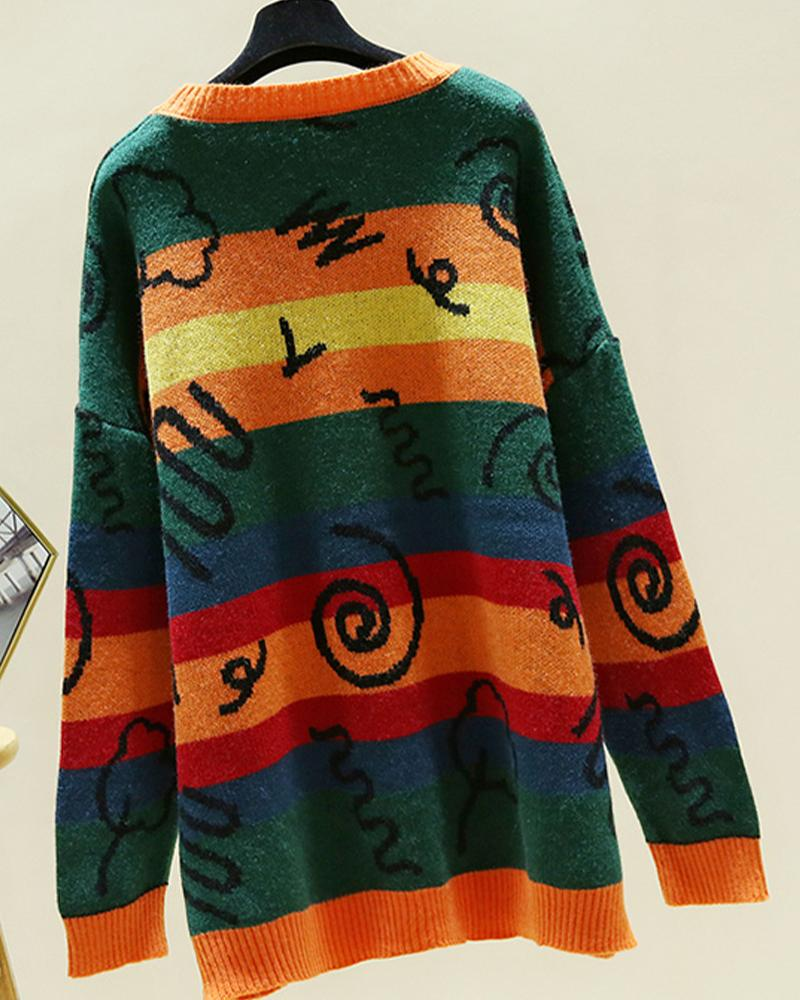 Cartoon Printing Long Sleeve Sweater