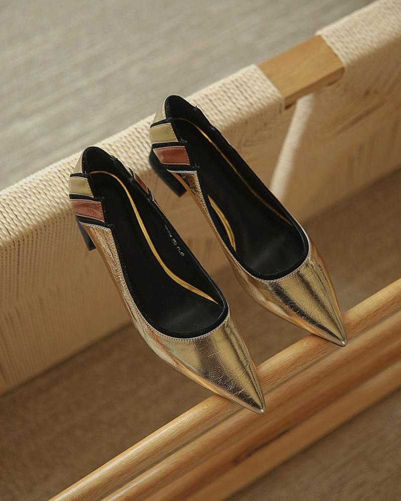Pointed Toe Color Block High Heels Sandals