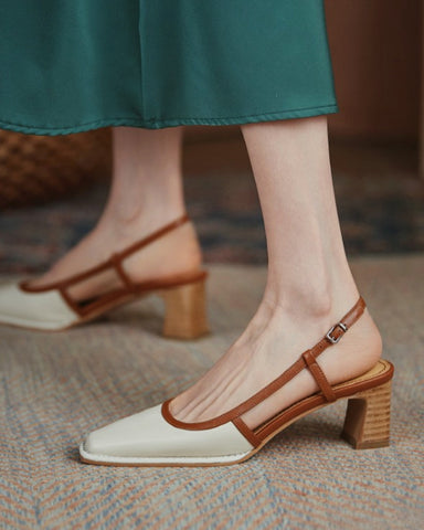 Square-toe Color Block Hollow-out High Heels