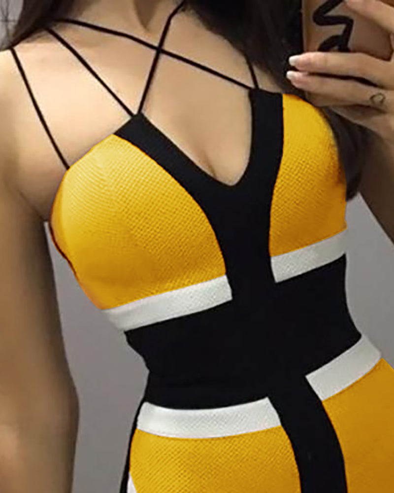 Multi-Strap Colorblock Insert Bodycon Dress