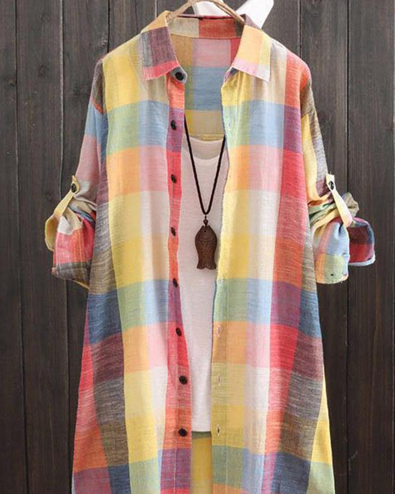 Multicolor Plaid Tunic Shirt
