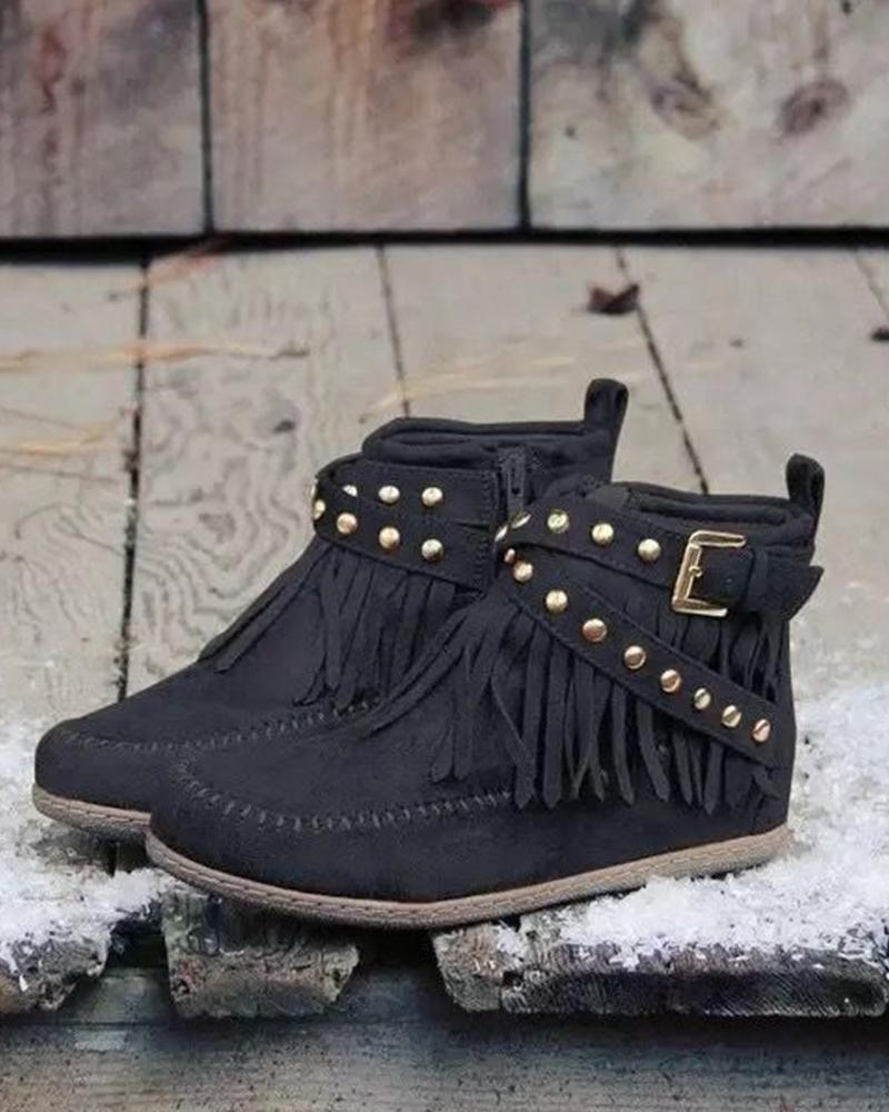 Solid Tassel Rivets Ankle Boots