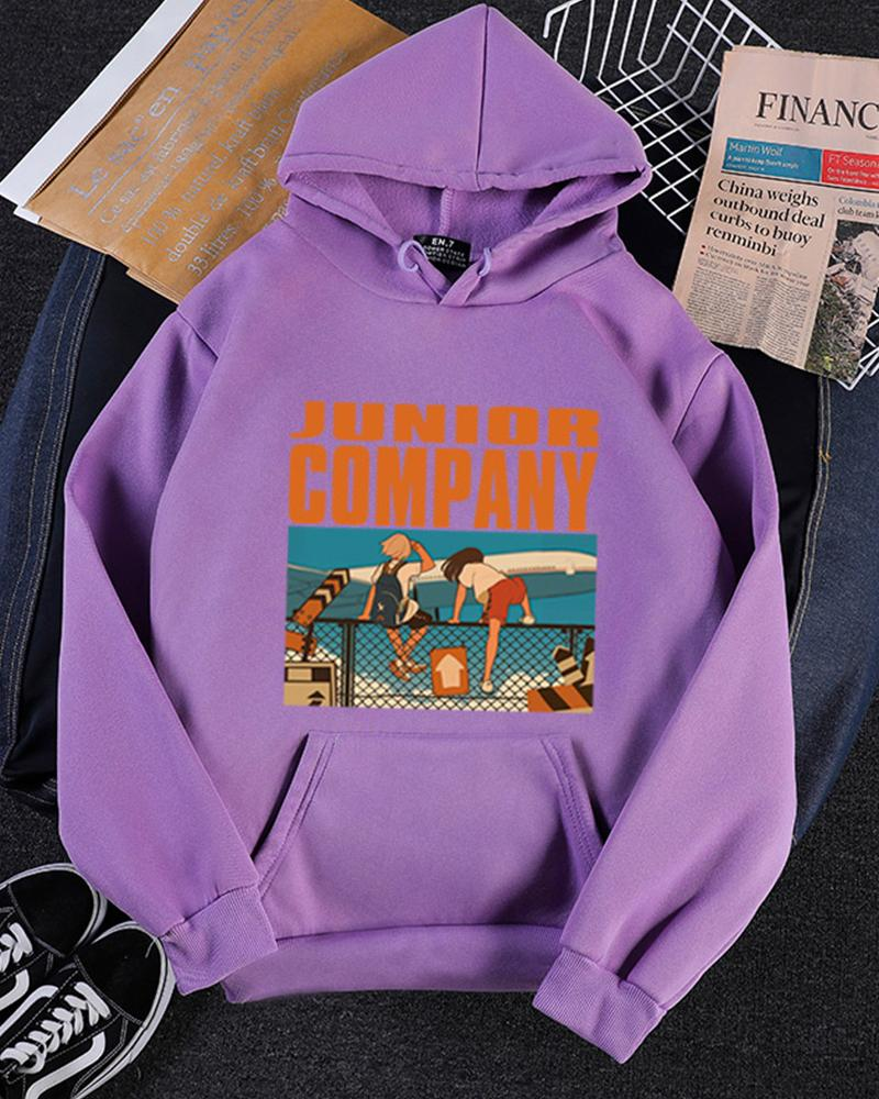 Print Plus Velvet Thick Hooded Sweatshirt
