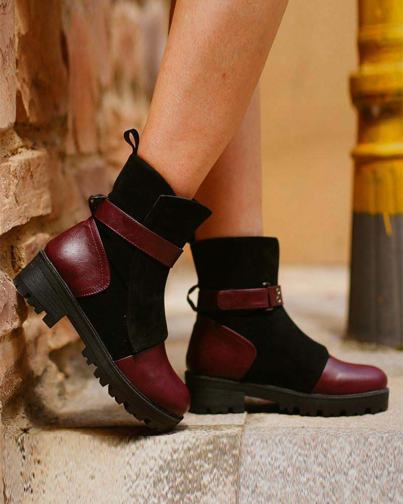 Color Block Round-toe Martin Boots
