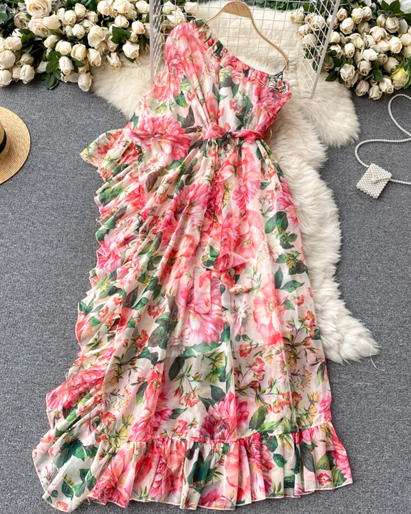 Floral One Shoulder Ruffles Loose Long Dress