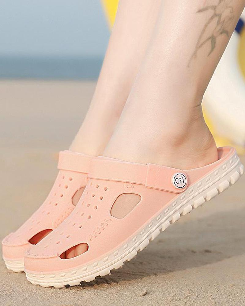 Perforated Cut Out Beach Sandals