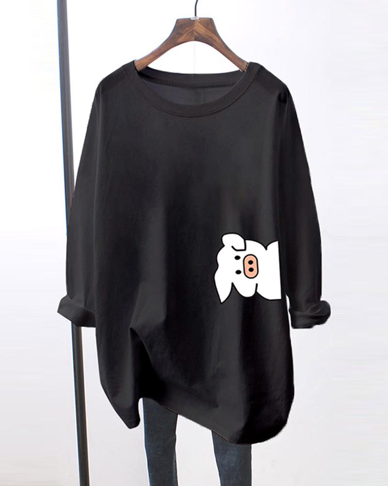 Bear Print Long Sleeve Loose T-shirts