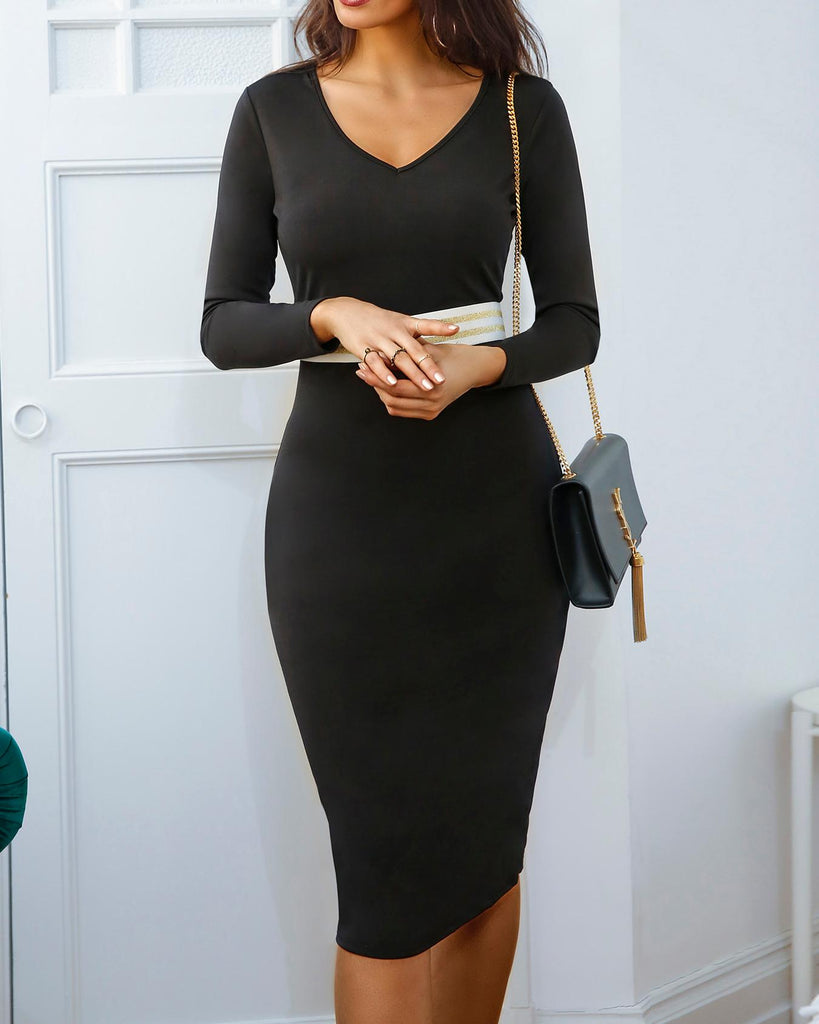 Long Sleeve Contrast Striped Bodycon Dress