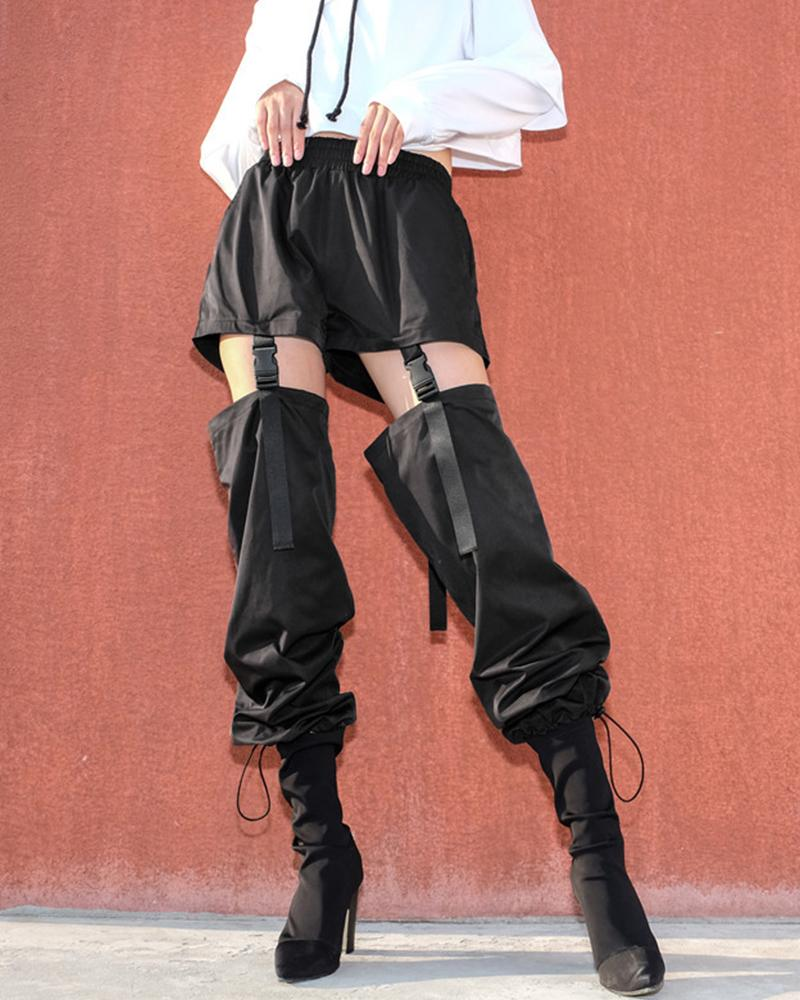 Solid Patchwork Cut-out Cargo Pants