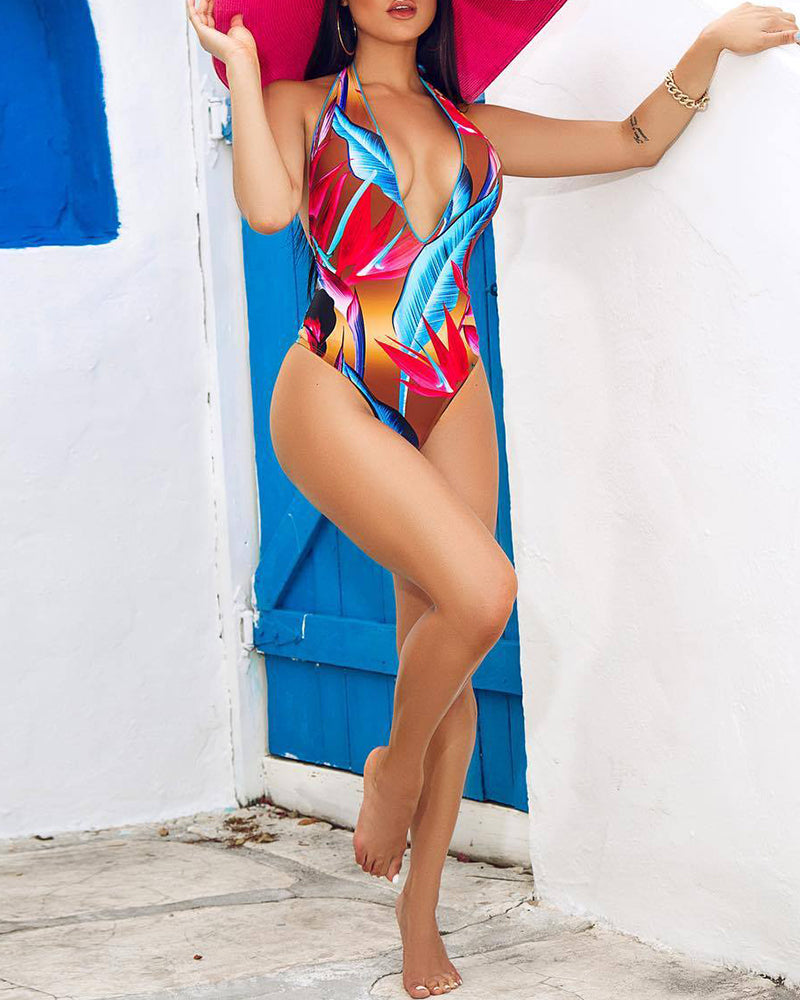 Halter Leaf Print One-Piece Swimsuit
