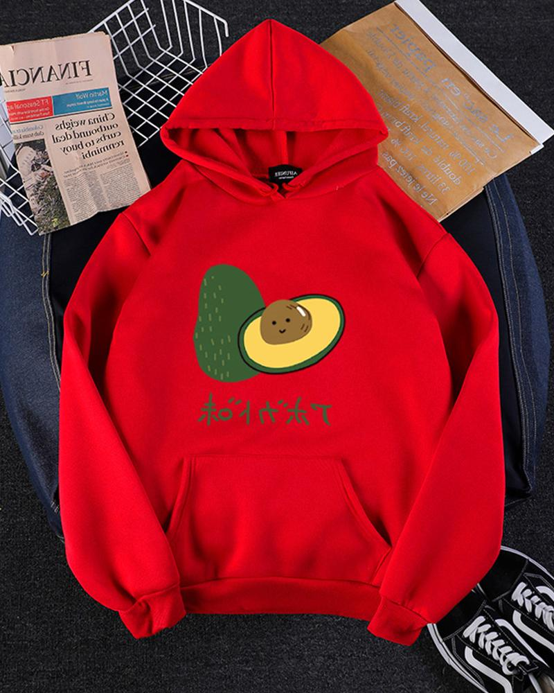 Print Plus Velvet Thick Hooded Sweatshirt Hoodies