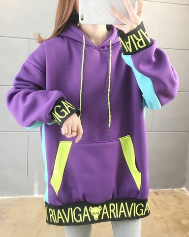 Color Block Splicing Letter Print Long Sleeve Hooded Sweatshirt