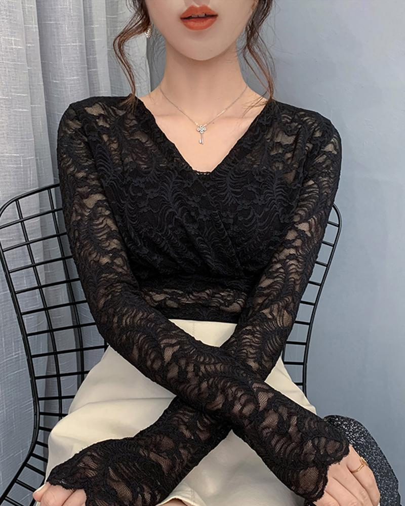 Solid V Neck Lace Top