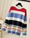 Colorblock Stiprd Long Sleeve Loose Sweater