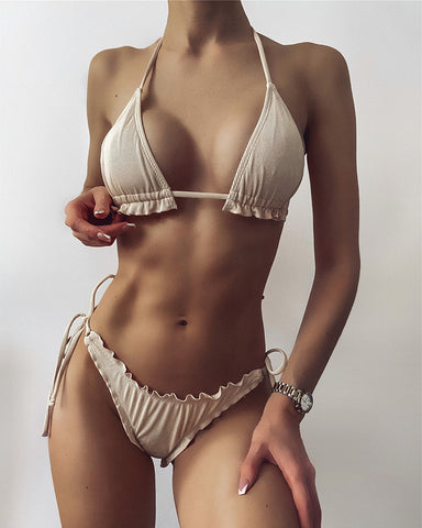 Solid Ruffles Strap Bra With Strappy Panties Sexy Sets