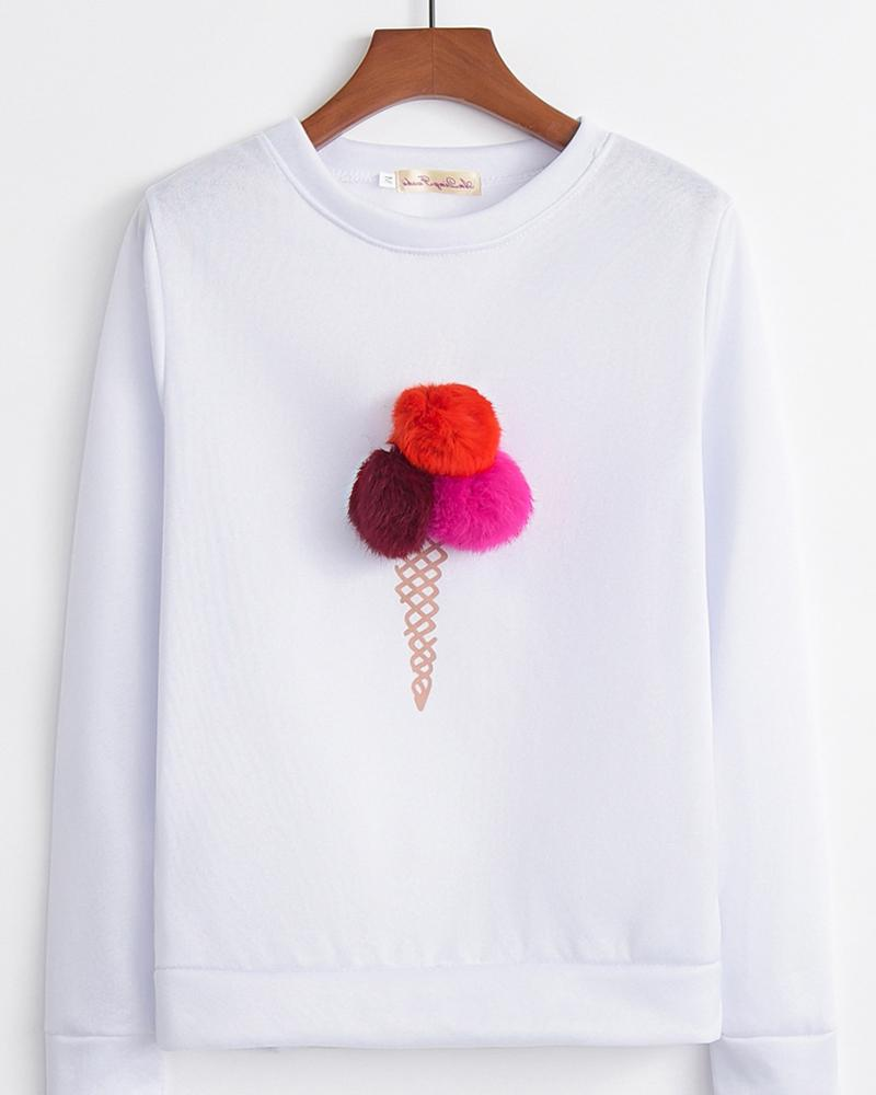 Ice Cream Printing Long Sleeve Sweatshirt