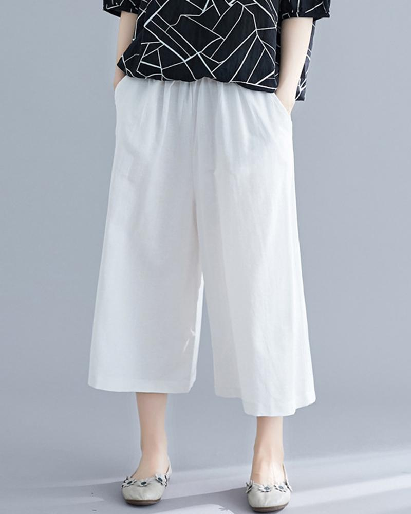 Solid Drawstring Loose Straight Pants