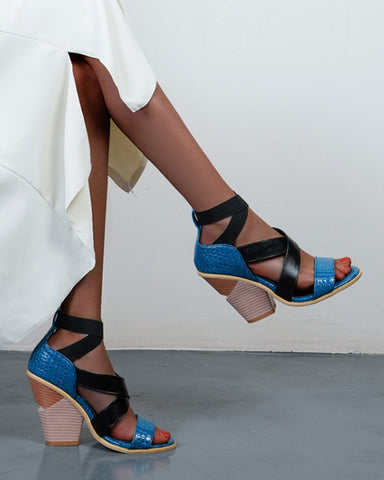 Solid Cross Band Cut-out High Heel Sandals