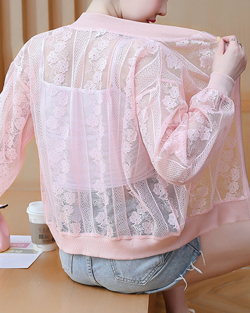 Floral Embroidery Long Sleeve Anti-UV Coats