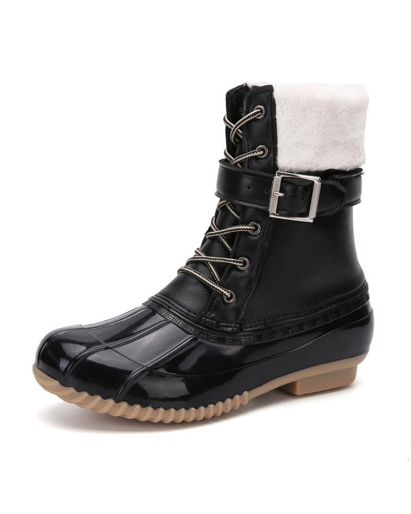Round-toe Lace-up Solid Color Snow Boots