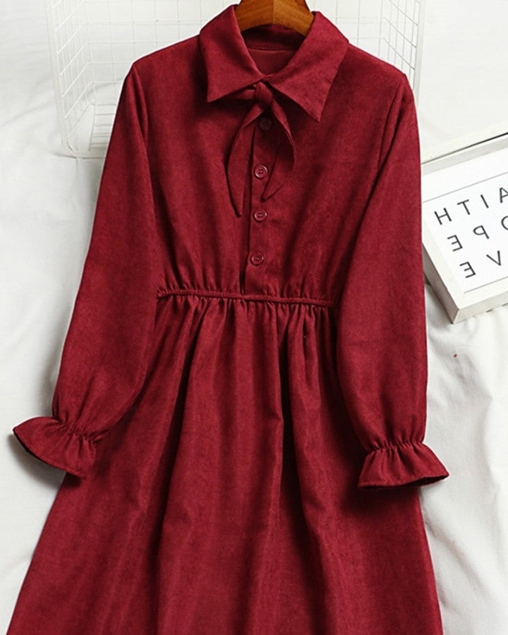 Bow Ruffle Long Sleeve Dress