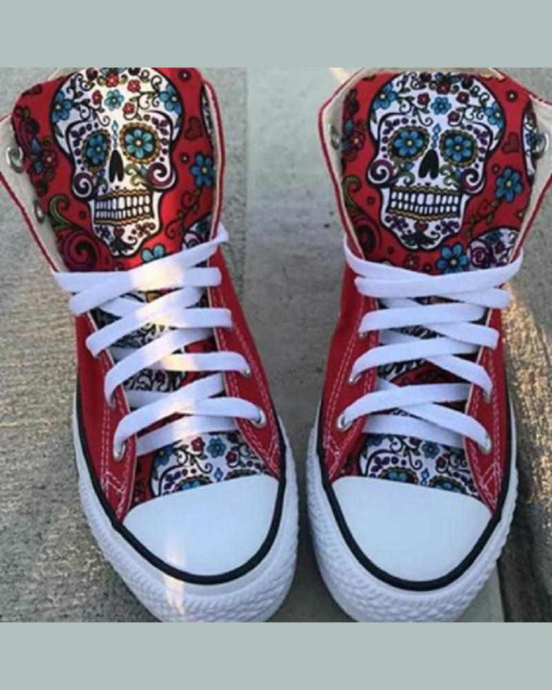 Floral & Skeleton Round-toe Lace-up High Top Sneakers
