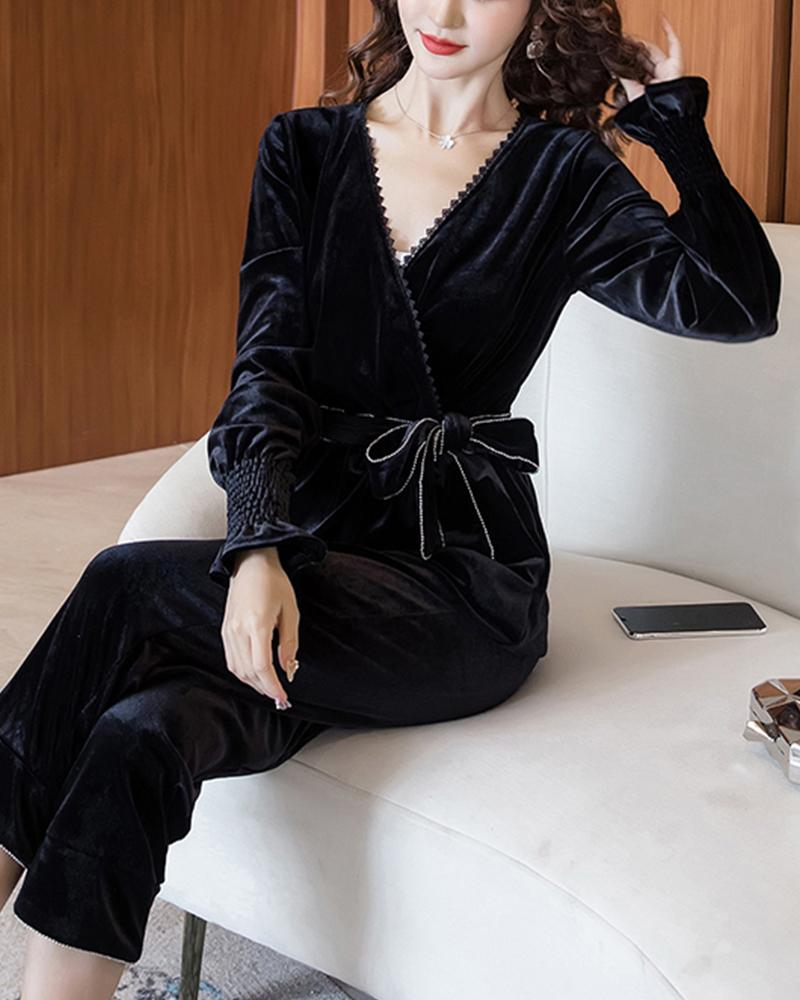 Solid Lace-up Waist Velvet Jumpsuit