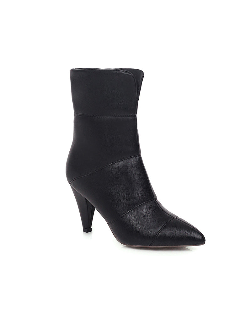 Solid Color Pointed-toe Leather Ankle Boots