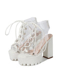 Round-toe Fish Mouth PVC Cross Strap Platform High Heels