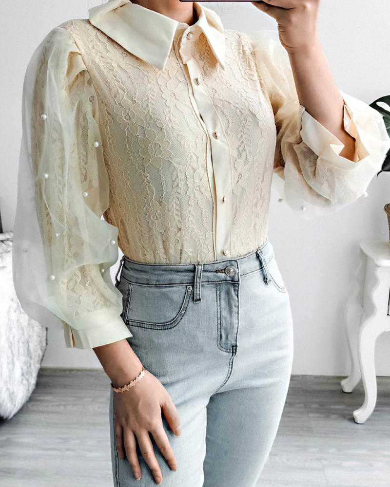 Stitching Lace Long Sleeve Shirt