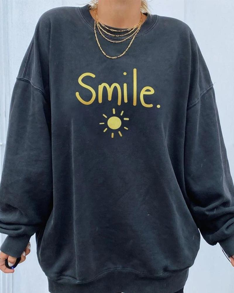 Letter&Sun Print Long Sleeve Sweatshirt