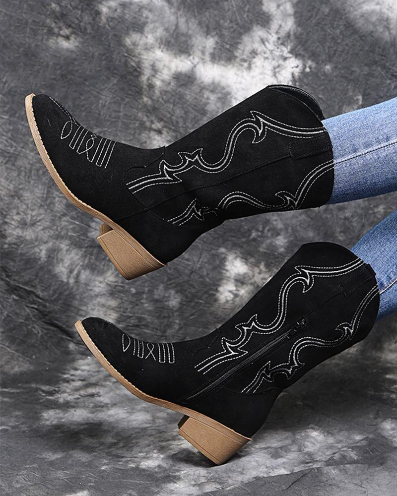 Embroidery Pointed-toe Low Heel Long Boots
