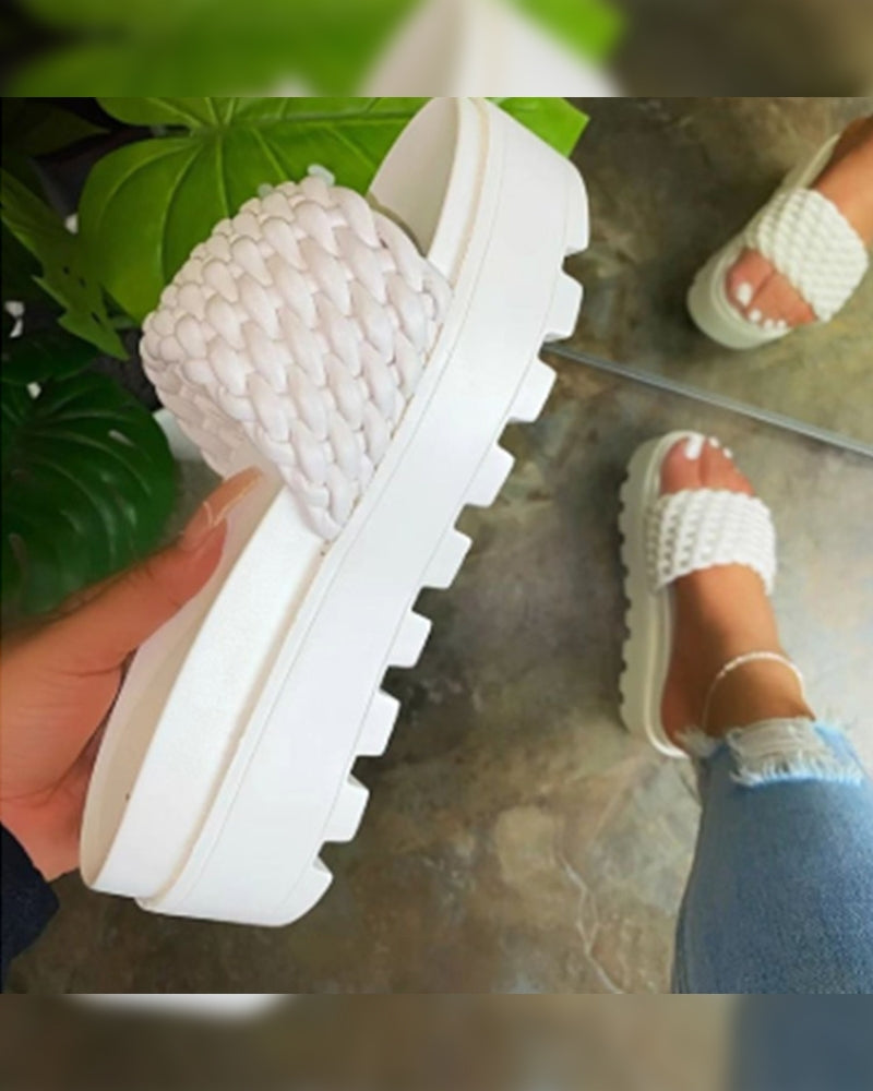 Solid Woven Upper Platform Slippers