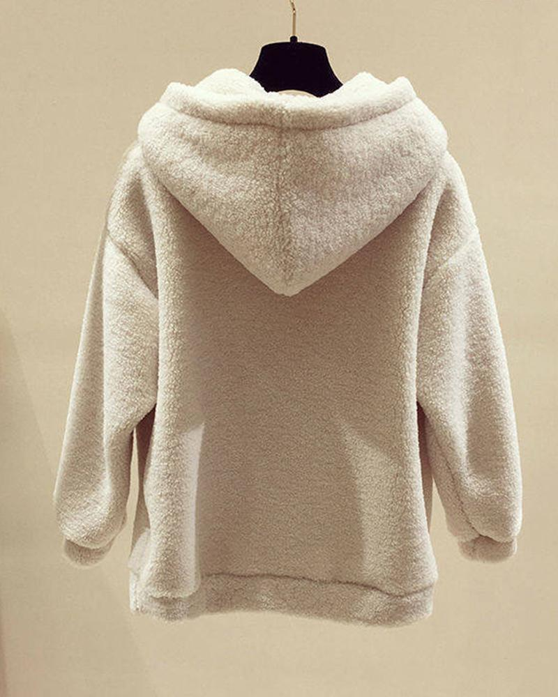 Letter Embroidery Long Sleeve Hooded Sweatshirt