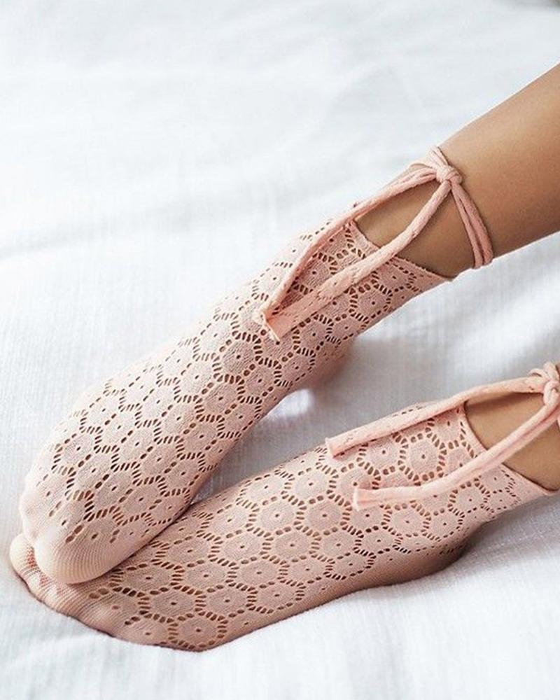 Casual Solid Color Lace-up Socks