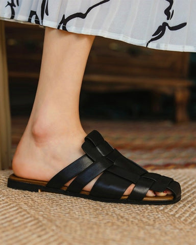 Solid Woven Open-toe Flat Slipper Sandals